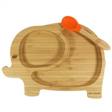 piatto-in-bamboo-eco-rascals-elefante-arancio