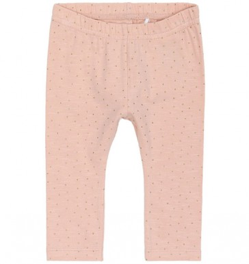 leggings-neonata-cotone-rosa-pois-oro-name-it