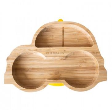 piatto-in-bamboo-eco-rascals-macchinina-giallo