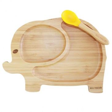 piatto-in-bamboo-per-bambini-eco-rascals-elefante-giallo